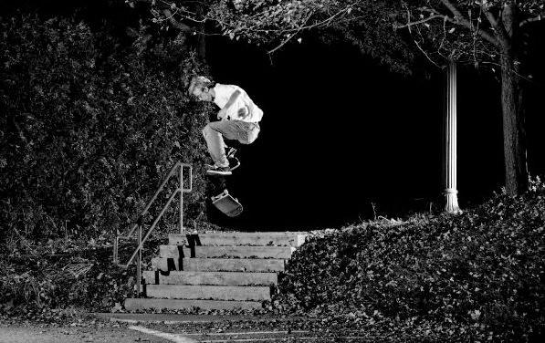 Heelflip skateboarding down stairs